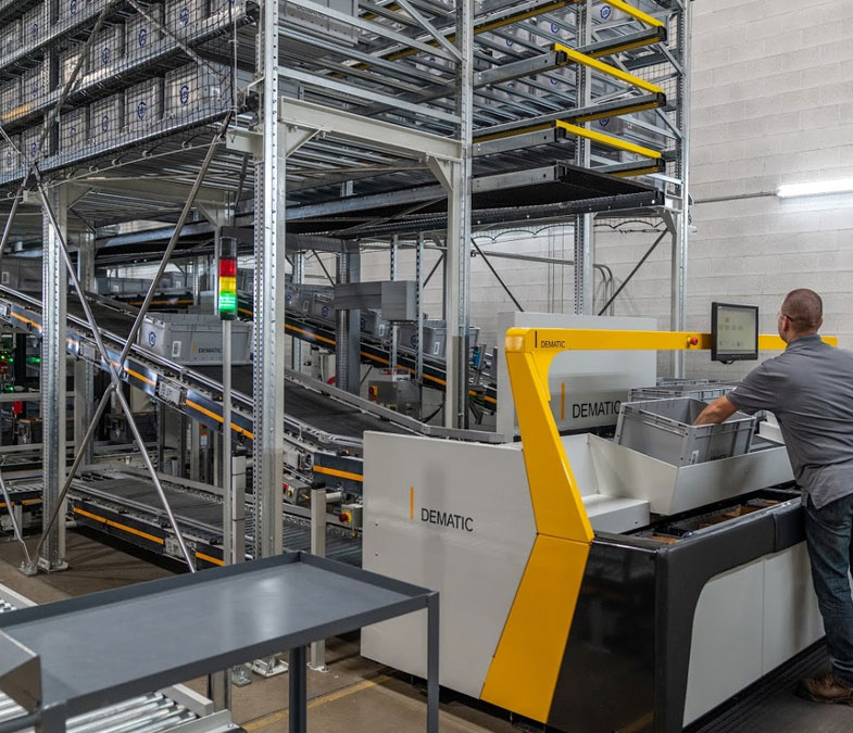 The ongoing same-day delivery fulfilment process in a Dematic micro-fulfilment centre